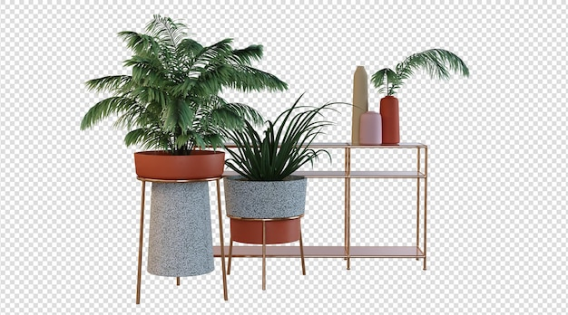 Rośliny i nowoczesny stół