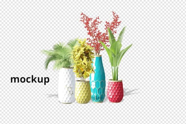 Rośliny w doniczce w renderowaniu 3d na białym tle