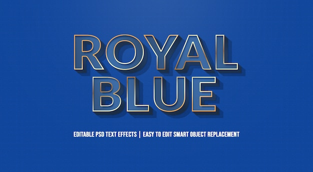 Royal blue text effect premium psd