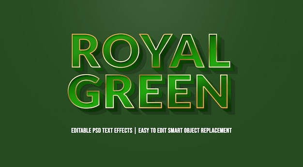 Royal green text effect premium psd