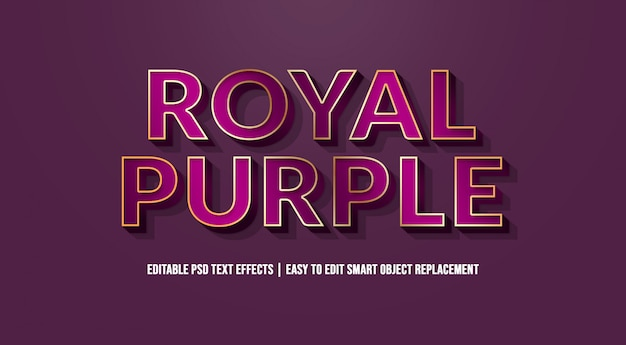 Royal purple text effect premium psd