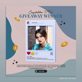 Rozdaj szablon baneru konkursowego na instagramie w mediach społecznościowych