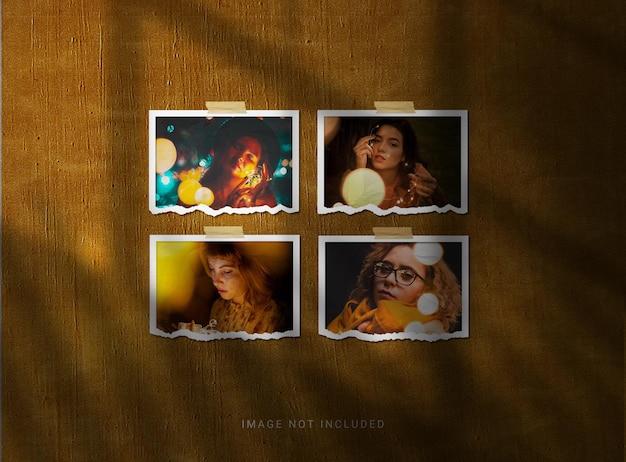 Rozdarty papier makieta ramki na zdjęcia