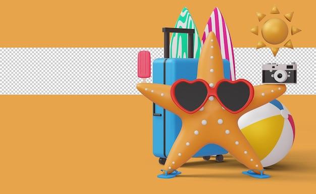 Rozgwiazda w okularach i walizce z piłką plażową renderowania 3d
