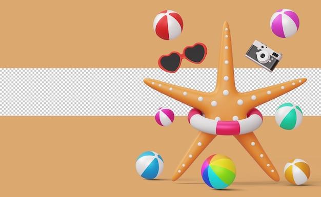 Rozgwiazda w pierścieniu pływackim z piłką plażową, aparatem i okularami przeciwsłonecznymi, renderowanie 3d