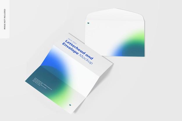 Rozłożony papier firmowy i makieta koperty