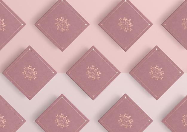 Rozmieszczenie różowych pudełek na biżuterię