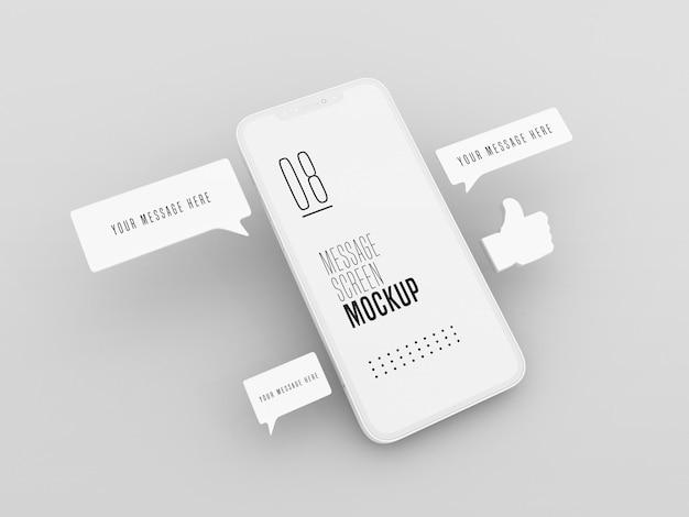 Rozmowa na czacie na makiecie telefonu komórkowego