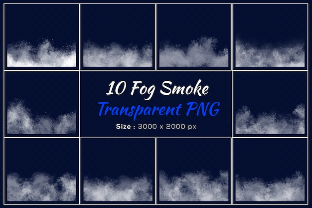 Różne kształty przezroczystej kolekcji dymu mgły