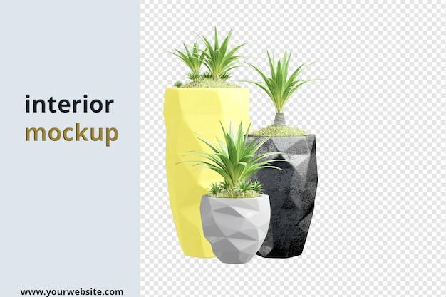 Różne rośliny w doniczkach w renderowaniu 3d