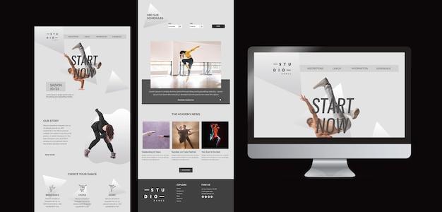 Różne szablony formatów tańca i ekran