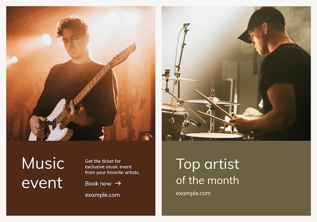 Różne szablony reklam muzycznych psd na zestaw plakatów