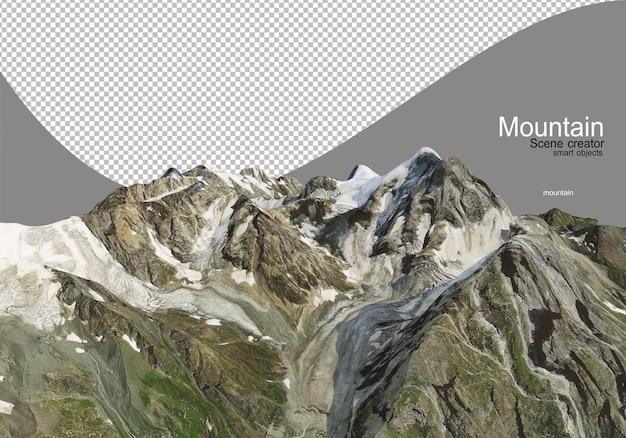 Różne wysokie góry pokryte śniegiem