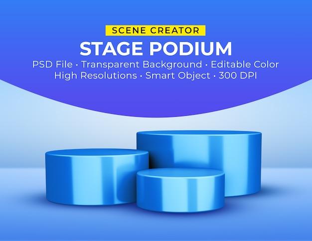 Różne wysokości podium scenicznego w renderowaniu 3d