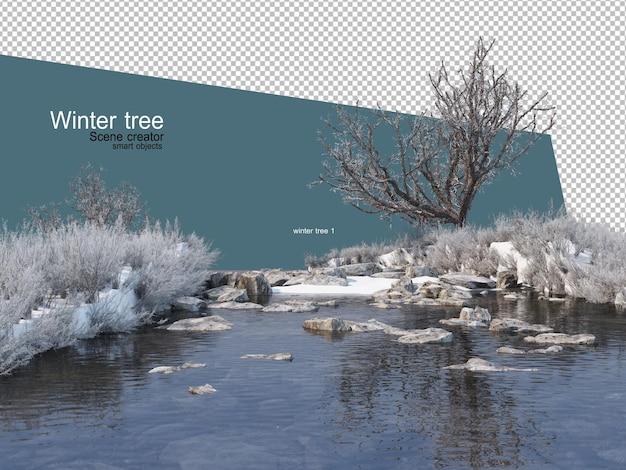 Różne wzory drzew zimowych na białym tle