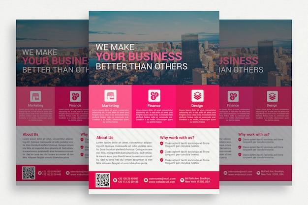 Różowa broszura biznesowa
