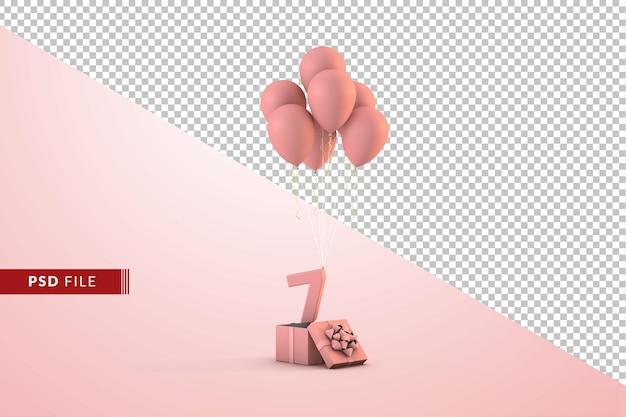 Różowa dekoracja urodzinowa numer 7 z pudełkiem prezentowym i balonami na białym tle