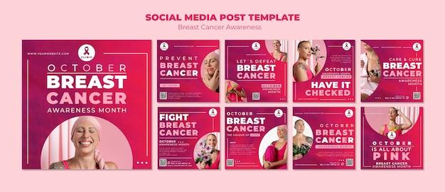 Różowa kolekcja postów na instagramie dotyczącym świadomości raka piersi