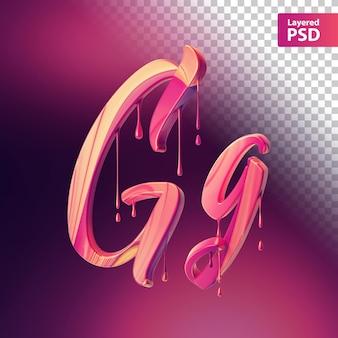 Różowa litera 3d z efektem kapania
