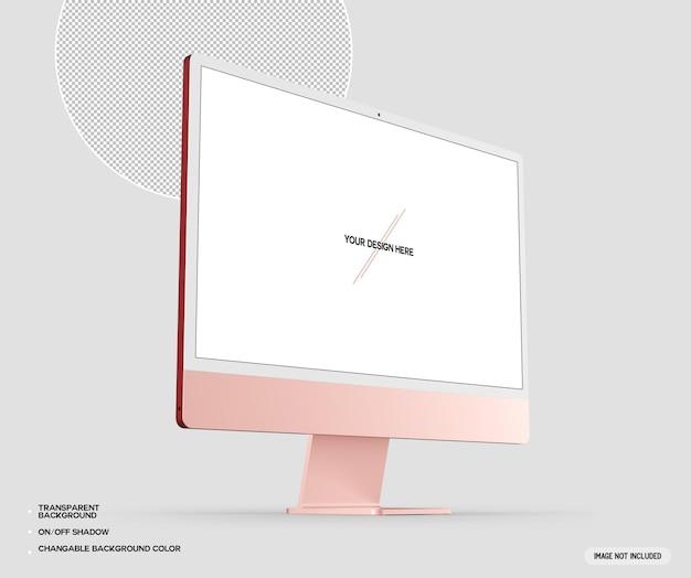 Różowa makieta komputera stacjonarnego