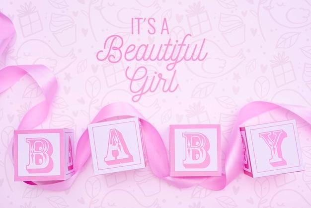 Różowa płeć ujawnia baby shower dla dziewczynki