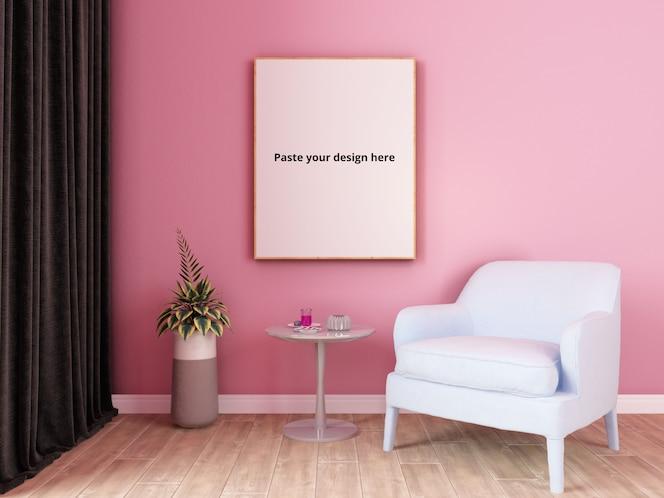 różowa ściana z pojedynczą sofą relaksacyjną i makietą plakatu