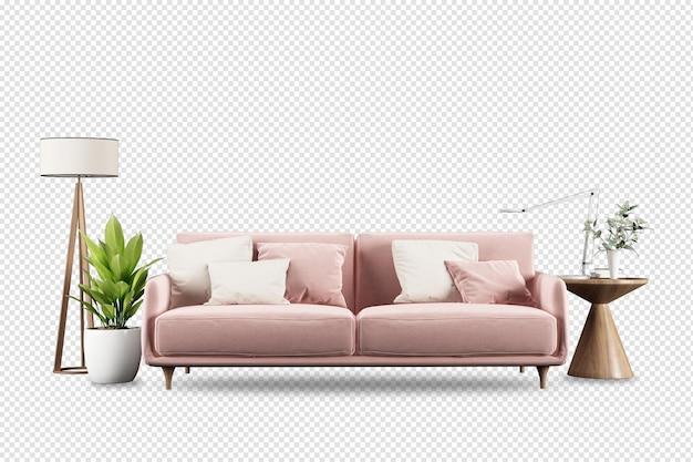 Różowa sofa i nowoczesne meble w 3d