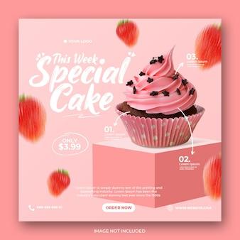 Różowe ciasto specjalne menu promocyjne social media instagram post banner szablon