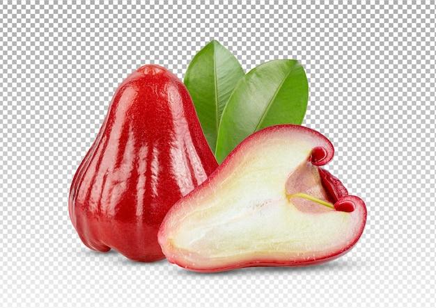 Różowe jabłko z liśćmi na białym tle