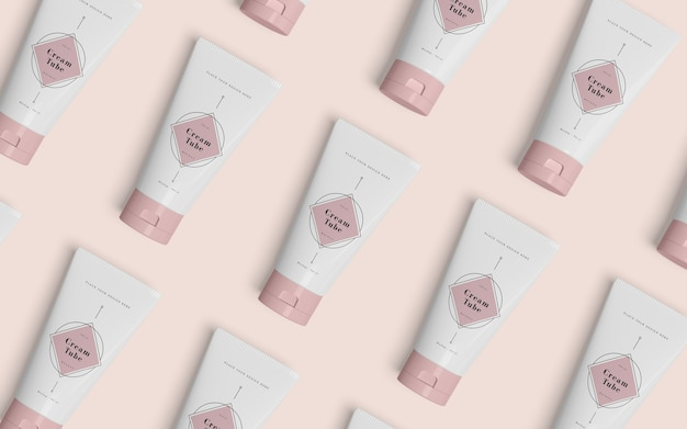 Różowe opakowanie produktów kosmetycznych