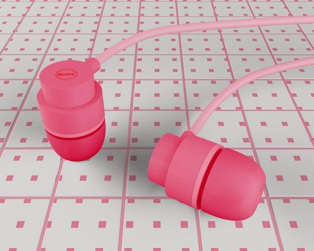 Różowe słuchawki z konstrukcją kablową