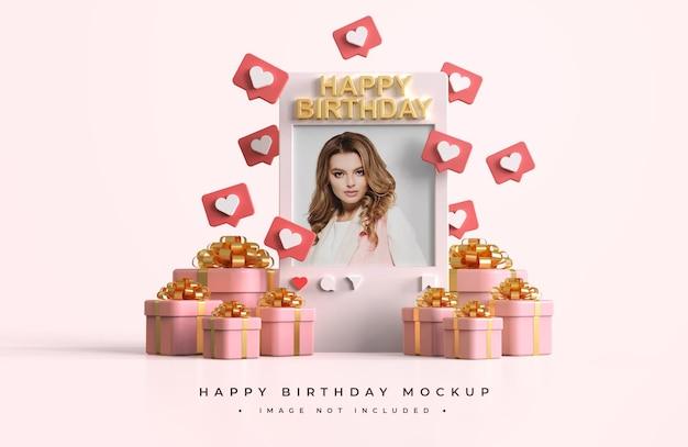 Różowo-złota makieta z okazji urodzin