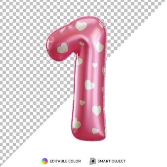 Różowy balon foliowy numer 1 3d na białym tle