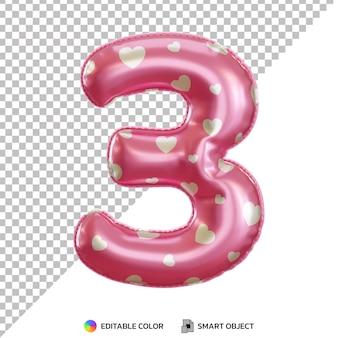 Różowy balon foliowy numer 3 3d na białym tle