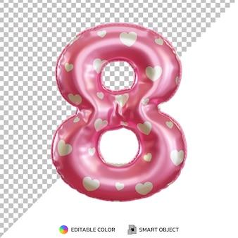 Różowy balon foliowy numer 8 3d na białym tle