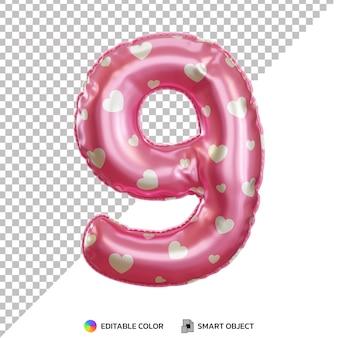 Różowy balon foliowy numer 9 3d na białym tle