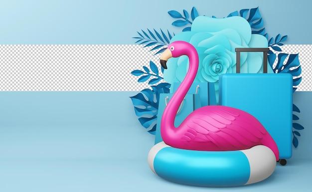 Różowy flaming i pierścień do pływania z kwiatem, sezon letni, letni szablon renderowania 3d