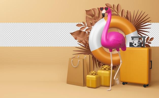 Różowy flaming i walizka z kwiatem, sezon letni, lato szablon renderowania 3d