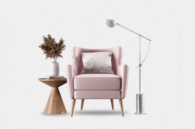 Różowy fotel i nowoczesne meble renderowane w 3d