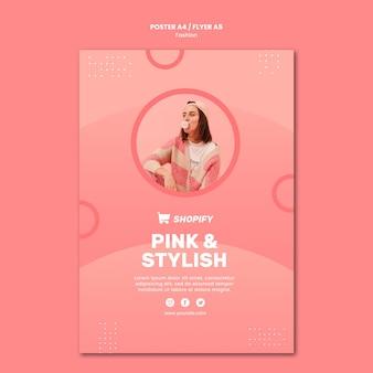Różowy i stylowy szablon plakatu