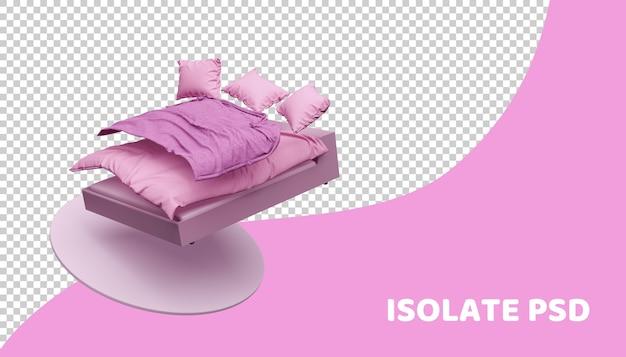 Różowy łóżko i pościel w 3d renderowania na białym tle
