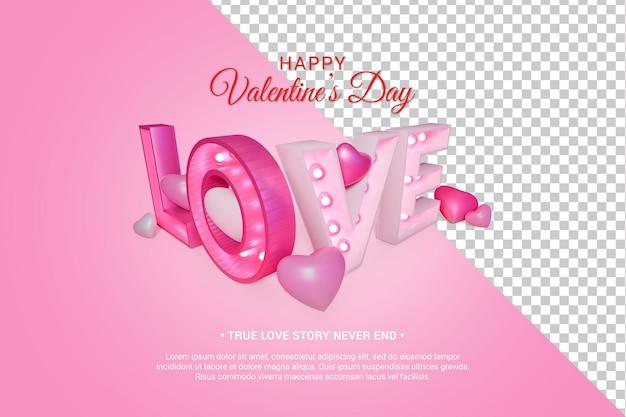Różowy miłość tekst z serca 3d render izolowane