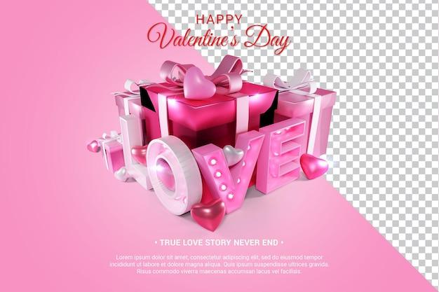Różowy miłość tekst z serca i prezenty 3d renderowania na białym tle