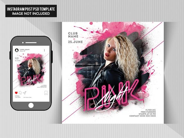 Różowy night party flyer