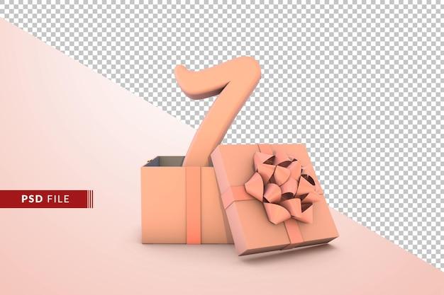 Różowy numer 7 na urodziny z różowym pudełkiem prezentowym 3d na białym tle