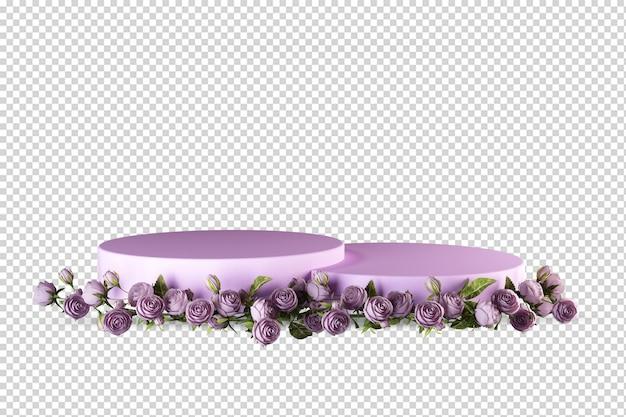 Różowy podium z różami w renderowaniu 3d na białym tle