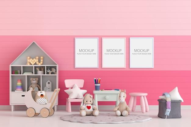 Różowy pokój dziecięcy z makietą ramki