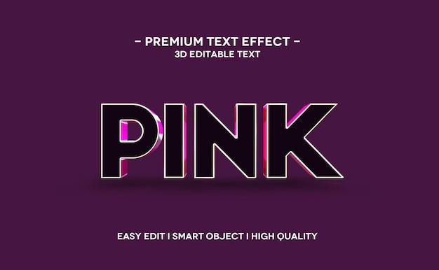 Różowy szablon efektu stylu tekstu 3d