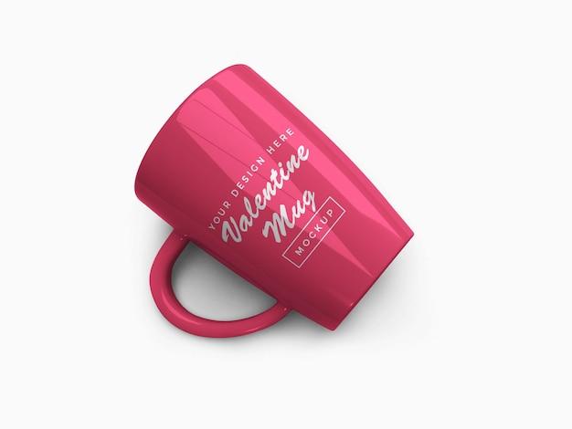 Różowy valentine kubek makieta projekt na białym tle