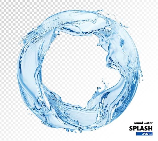 Rozprysk wody koło na białym tle